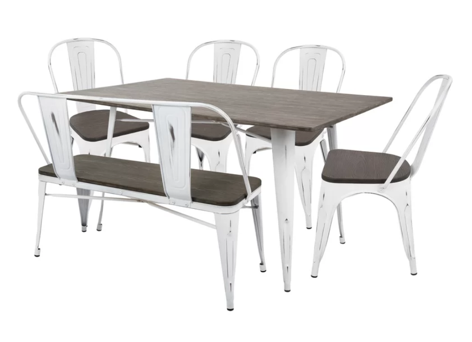 Rustic 6 Piece Dining Set With Bench