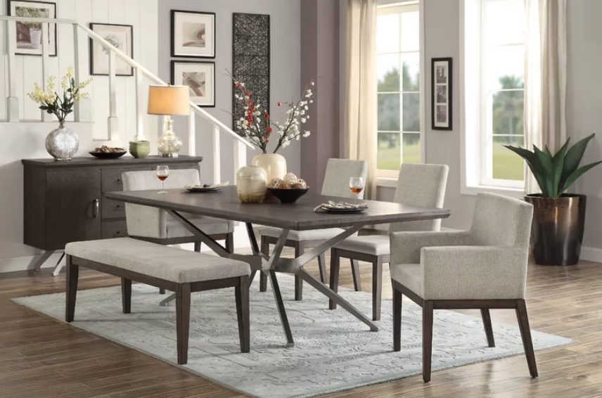 Modern Wood And Upholstery Dining Set With Bench