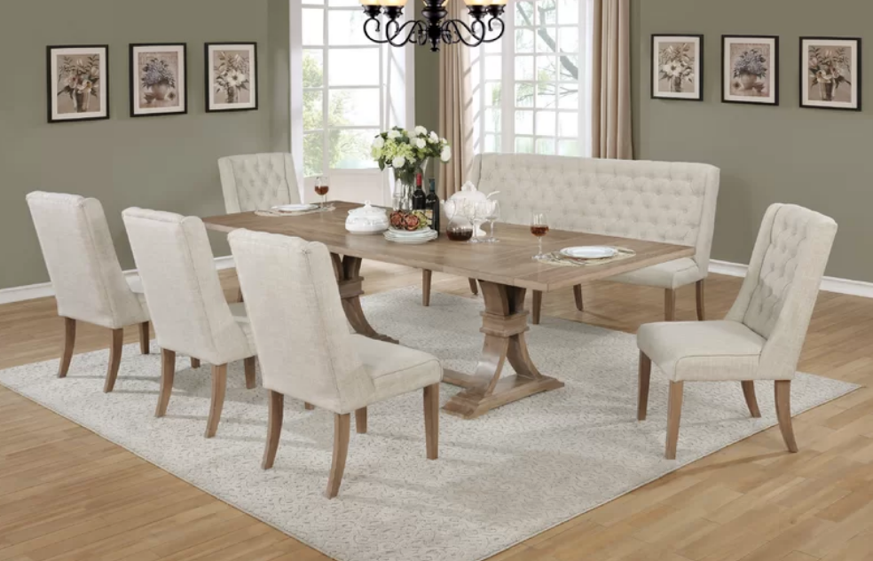 7 Piece Upholstered Dining Set With Bench