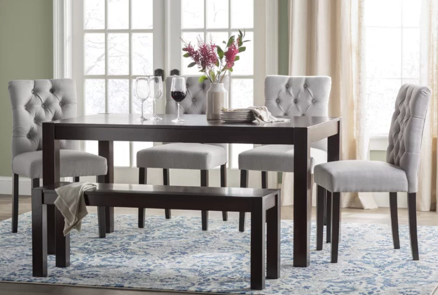 Contemporary 6 Piece Dining Set With Bench