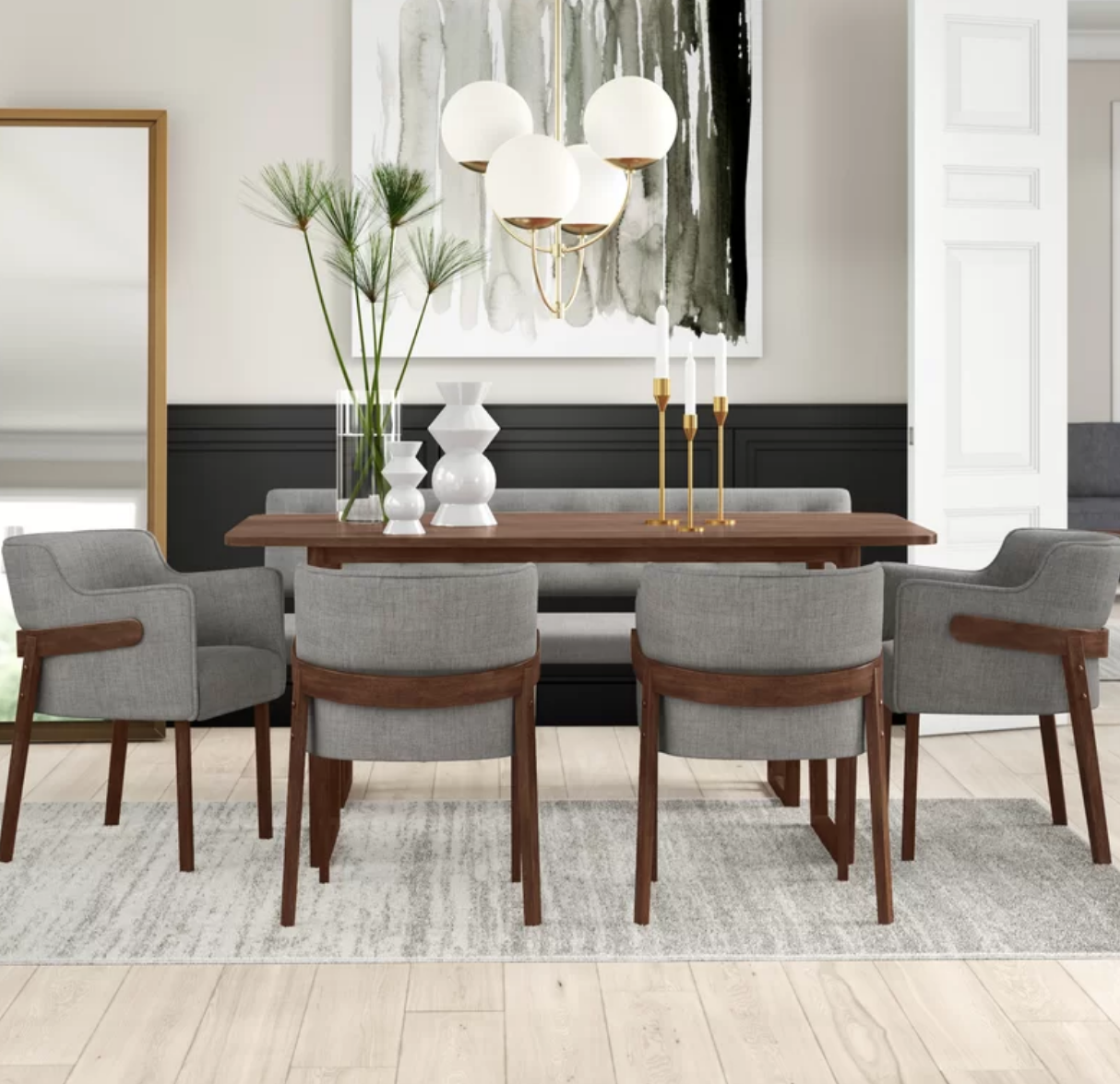 Modern 6 Piece Dining Set With Bench