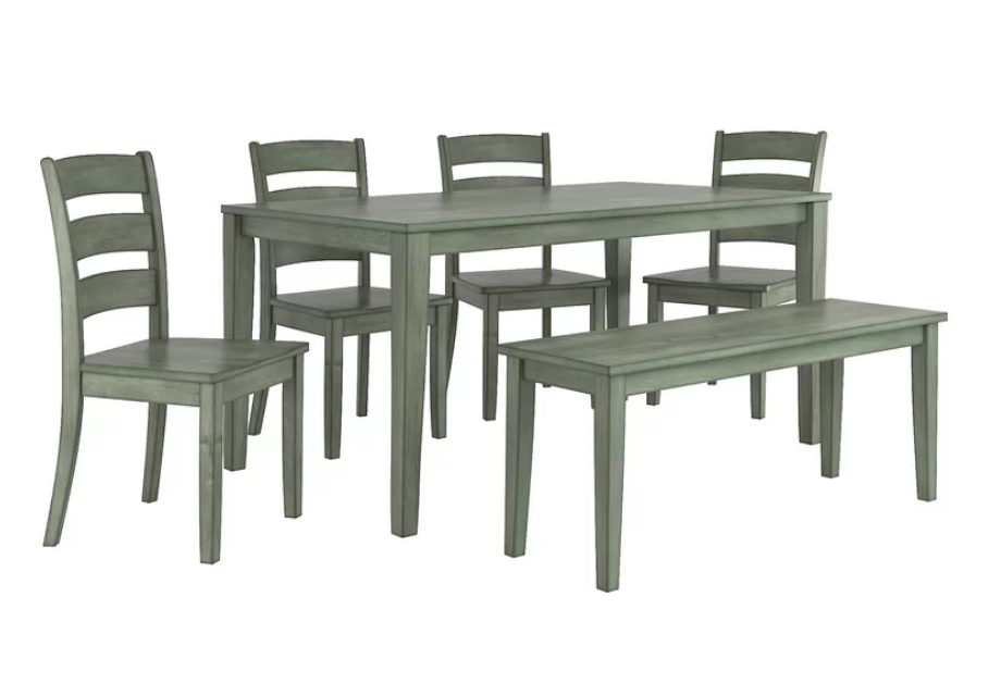 Green 6 Piece Dining Set With Bench