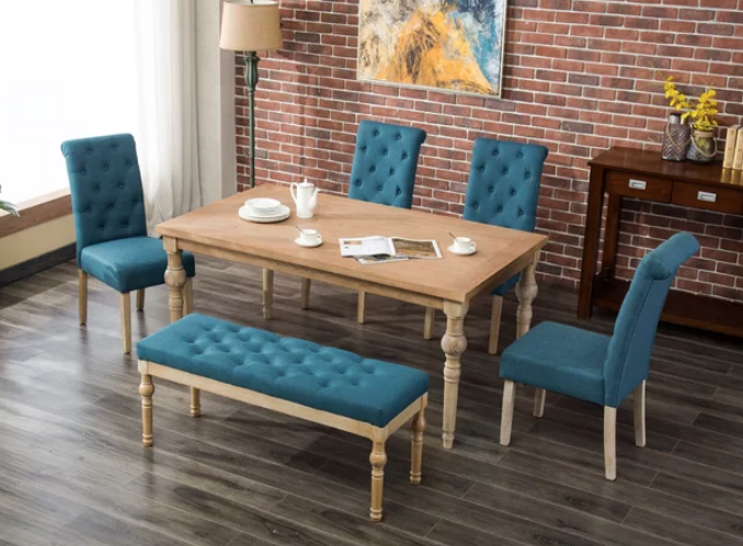 Blue 6 Piece Dining Set With Bench
