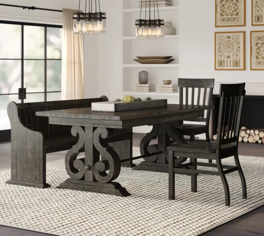 Scandinavian Style 4 Piece Dining Set with Bench