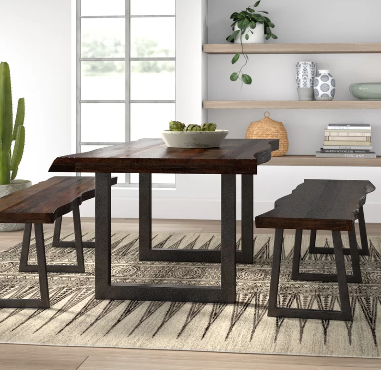 Industrial 3 Piece Live Edge Dining Set With Benches