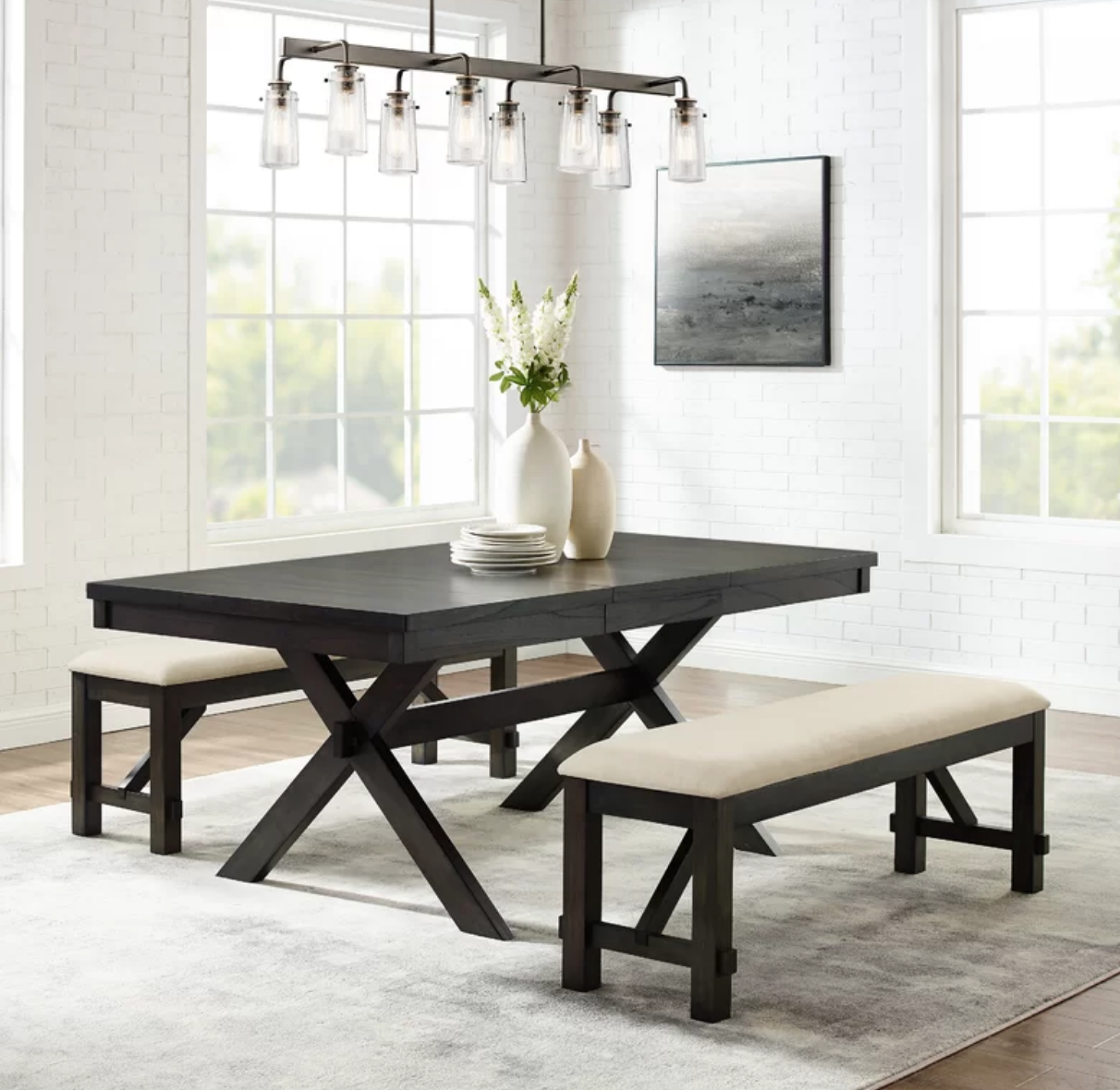 Extendable 3 Piece Dining Set With Upholstered Benches