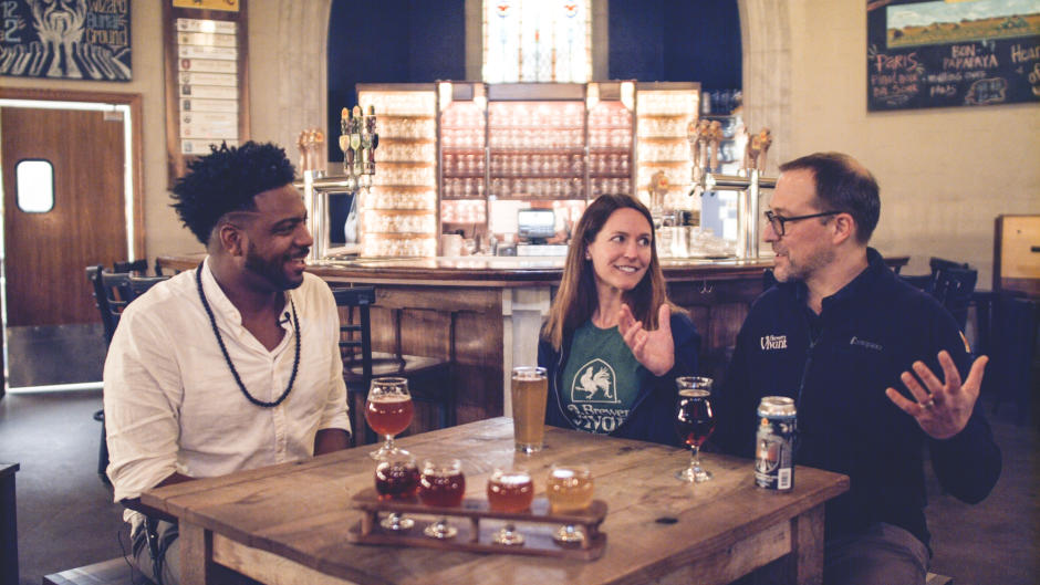 AB with Kris and Jason Spaulding, Brewery Vivant | Photo courtesy of Experience Grand Rapids