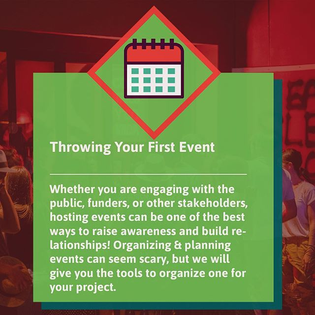 Planning an event can be a daunting task, but with the right tools and resources it can be one the best ways to draw attention to your cause! Join us on August 30 for PLANNING YOUR FIRST EVENT! All participants will leave with a draft plan to make their event a reality! Spaces are filling up quickly, so register today by following the link in our bio!