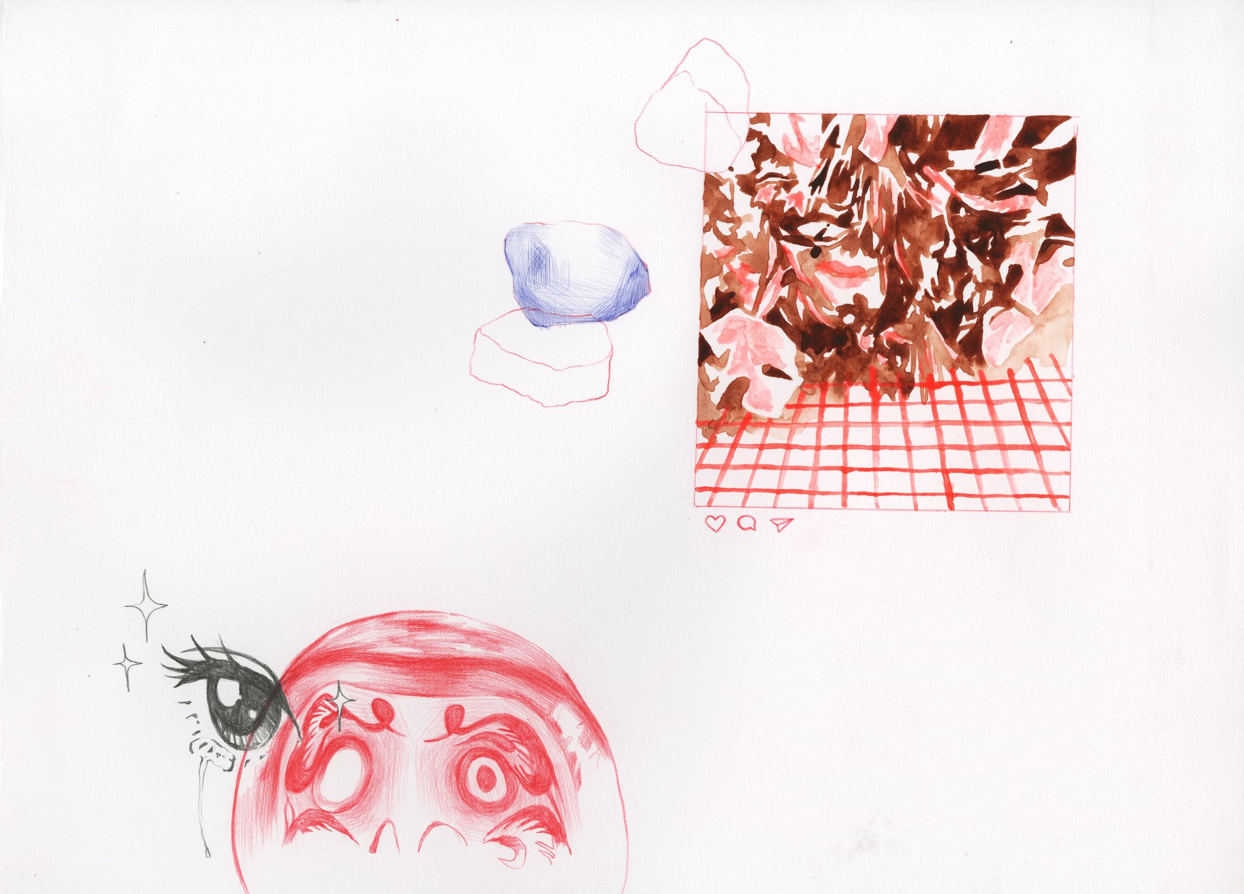 Window Offering  watercolor, colored pencil, ballpoint pen 11 x 14 in. 2017
