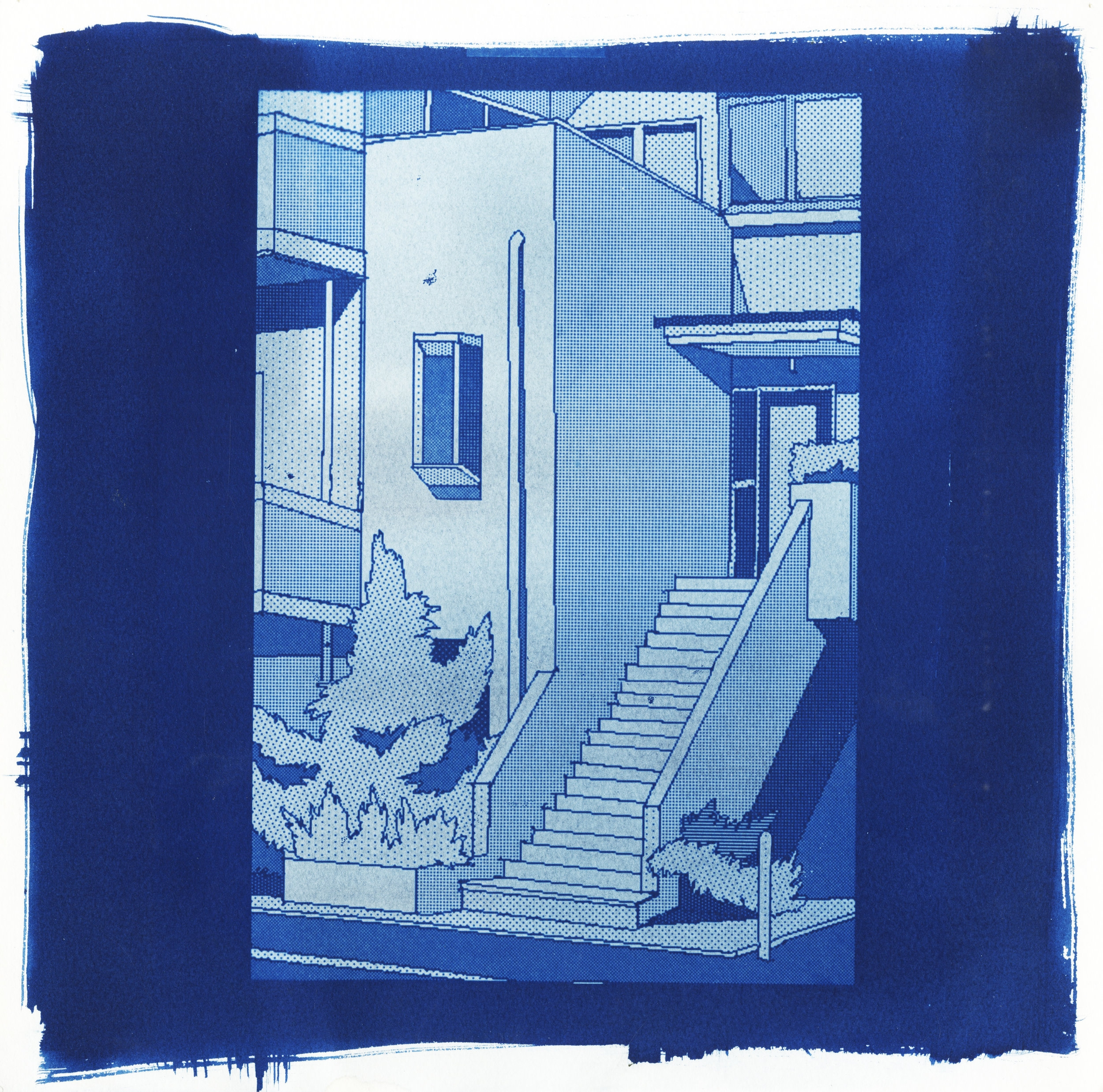 A House I've Never Been Inside No. 3  cyanotype on watercolor paper 12 x 12 in. 2017