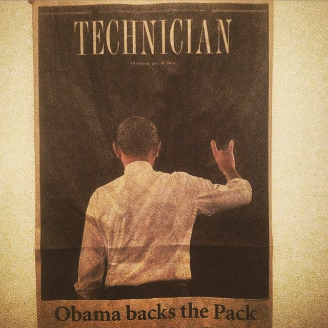 The one where Obama put up the Wolfgang hand symbol.  #GoPack #NCState #obama #Potus #Ncaa