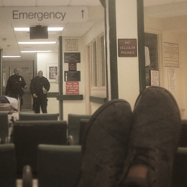 At Bellevue Hospital.  We all good.  Stitches for the homie tho.