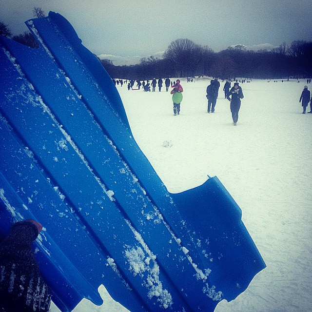 One mans trash is another mans sled.  #snowpacolypse #brooklyn #prospectpark