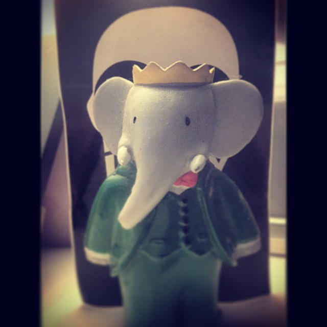 I rolls with the king of the bars.  #babar #elephant #king #toys #kooleyishigh
