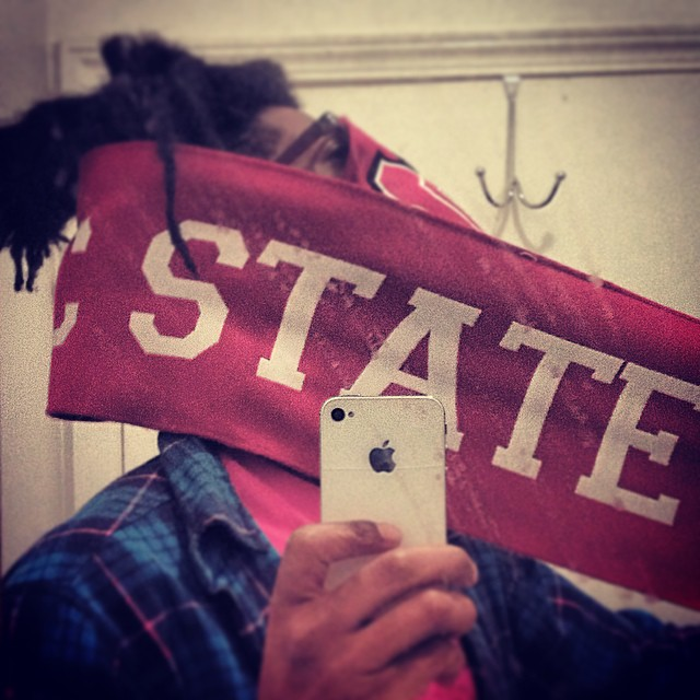 Has to pull out my Tradition NC State scarf for this blowout of Carolina…  Just to let you know how real it is.  #gopack #ncstate #northcarolina #wolfpack #kooleyhigh #brooklyn #raleigh #rivalryweek