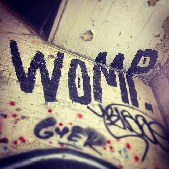 Womping on the ceiling.  #womp #brooklyn #streetart #collectthemall #ouchere