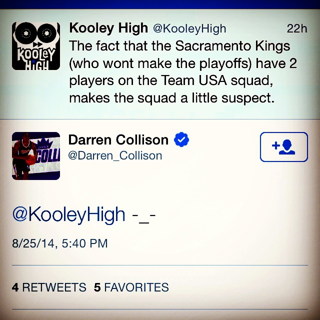 Darren Collinson knows I'm right thooo. #YouMadBro?  #kooleyknowsSports #PlayersCatchingFeelings #SacrementoKings