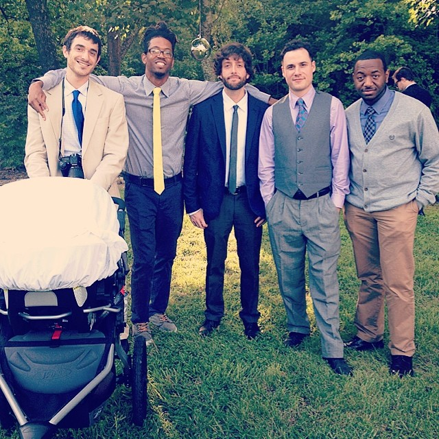 Five Dudes and Baby.  @thesinopsis @michaelbenbender @djilldigitz @fo_olery #brosforlife #bigday4whitandtay #damascus #inflowential #kooleyhigh #BabyBender