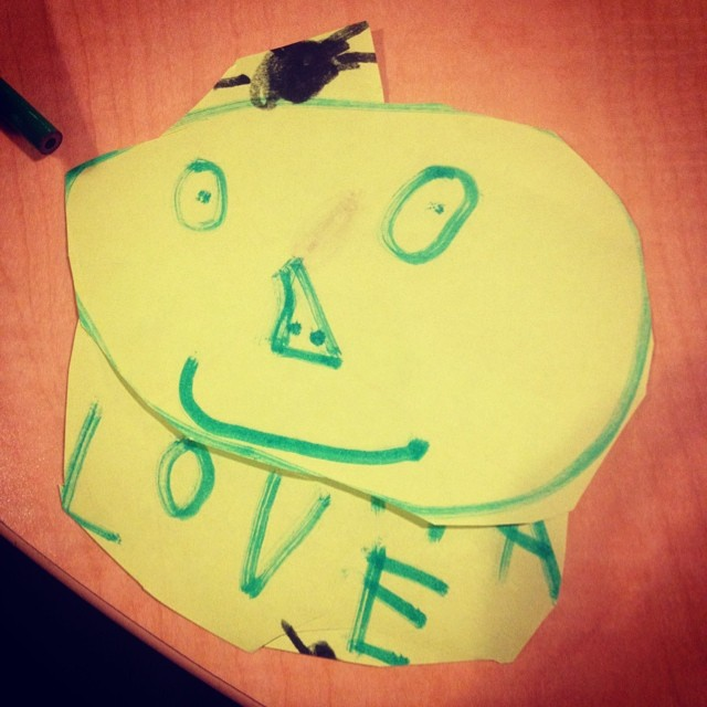 """Got this gift from one of the students.  Said it was a """"Charlie"""". #brooklyn #kids #artwork"""