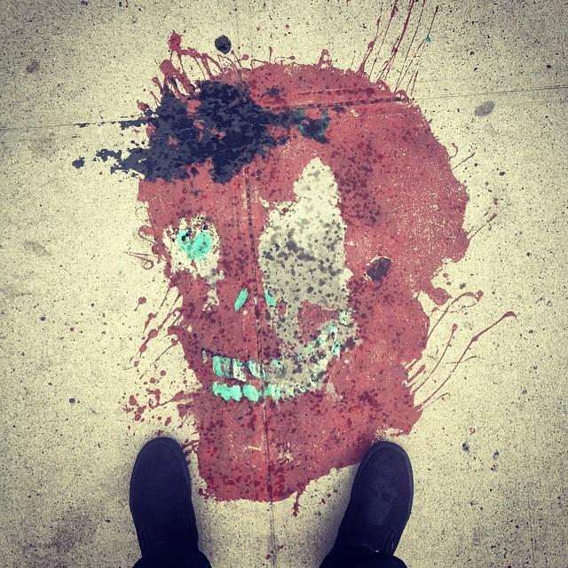 Skull on the street match the skulls on my feet.  #brooklyn #streetart #graffiti