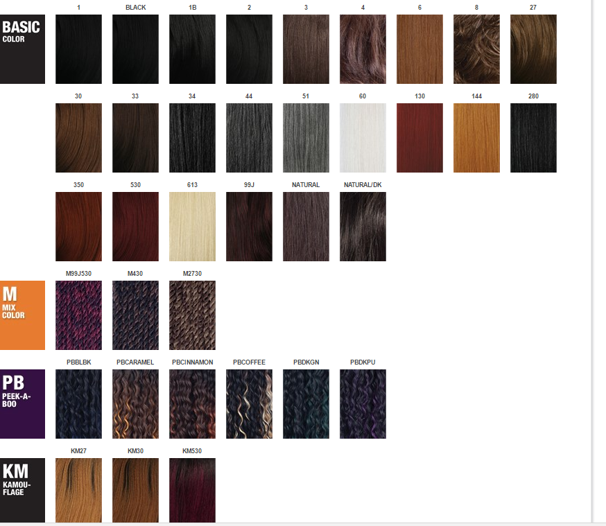Hair Color Chart for braids (click to enlarge)
