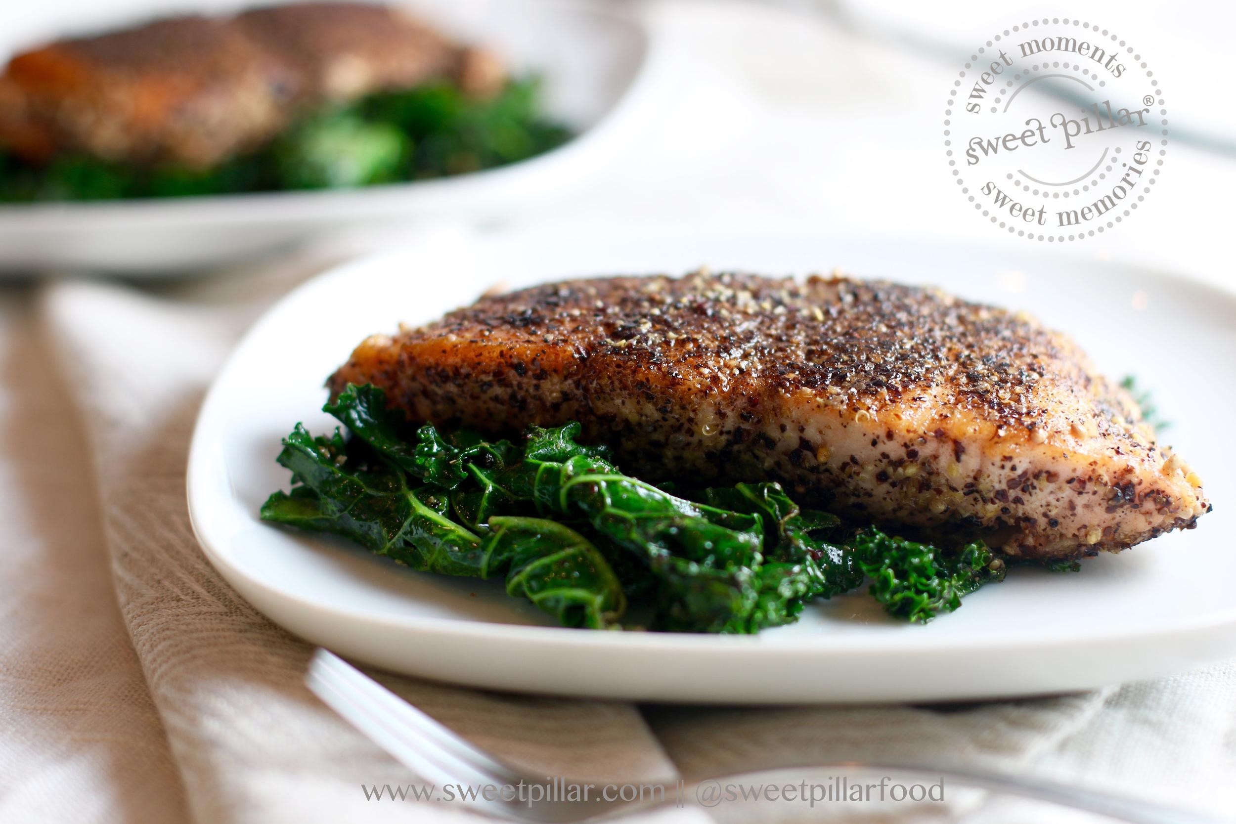 Sautee the kale in the same sumac, cumin, honey mustard rub for a few minutes