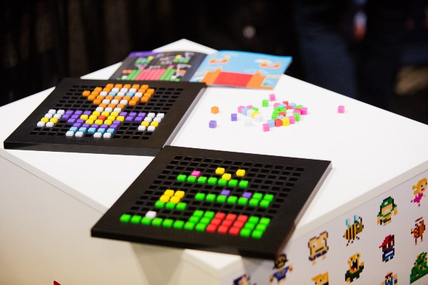 A Bloxels game layout and character, both if which can be captured with a tablet camera and turned into a playable game. Photo by Elizabeth Wiseman Photography.