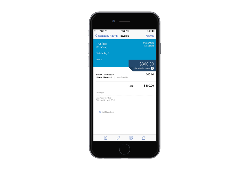 Taking orders with Quickbooks online on your mobile device.
