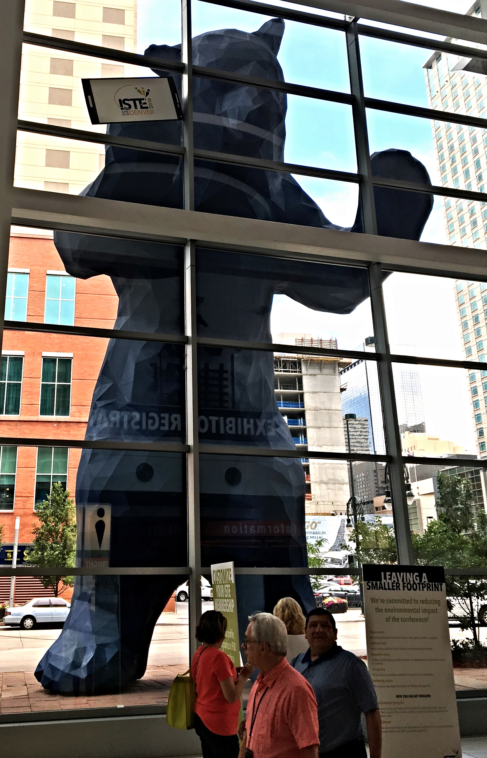 The ISTE bear was bummed he couldn't get in (he was too big to fit in the building).