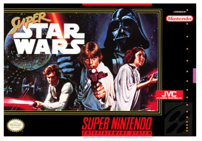 The game box art for one of our early inspirations, Super Star Wars for SNES
