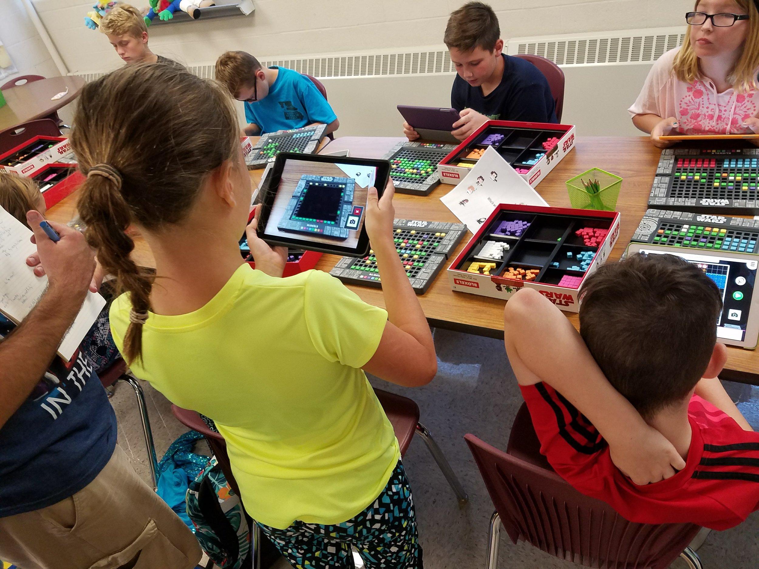 Students testing Bloxels Star Wars.