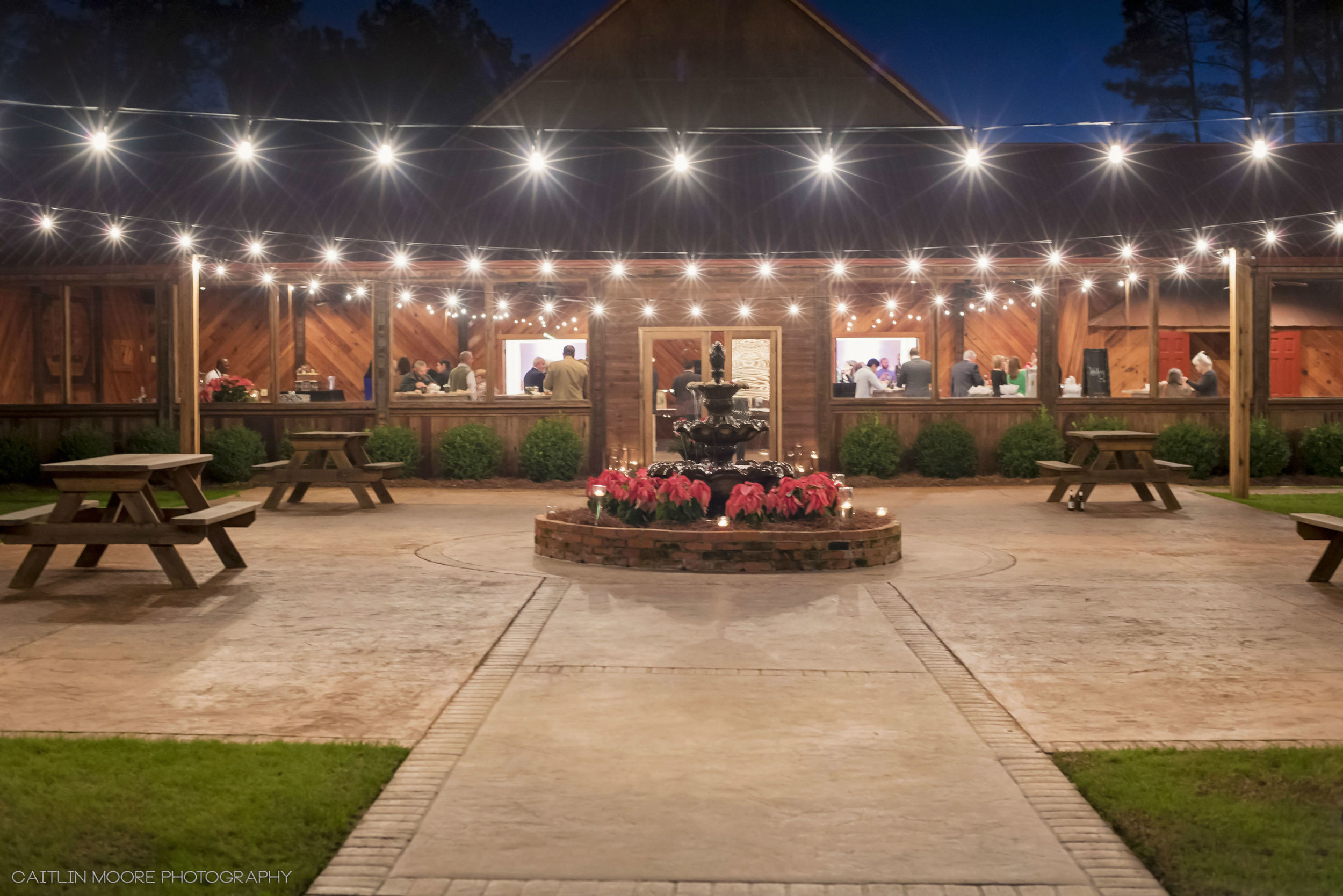 The Courtyard at Hidden Acres w/ New Bistro Lighting | Caitlin Moore Photography