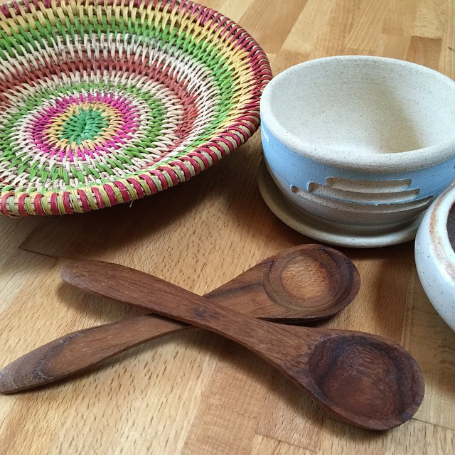 Love these little wooden spoons, tiny ceramic planters, and woven basket from an estate sale. All are used daily!