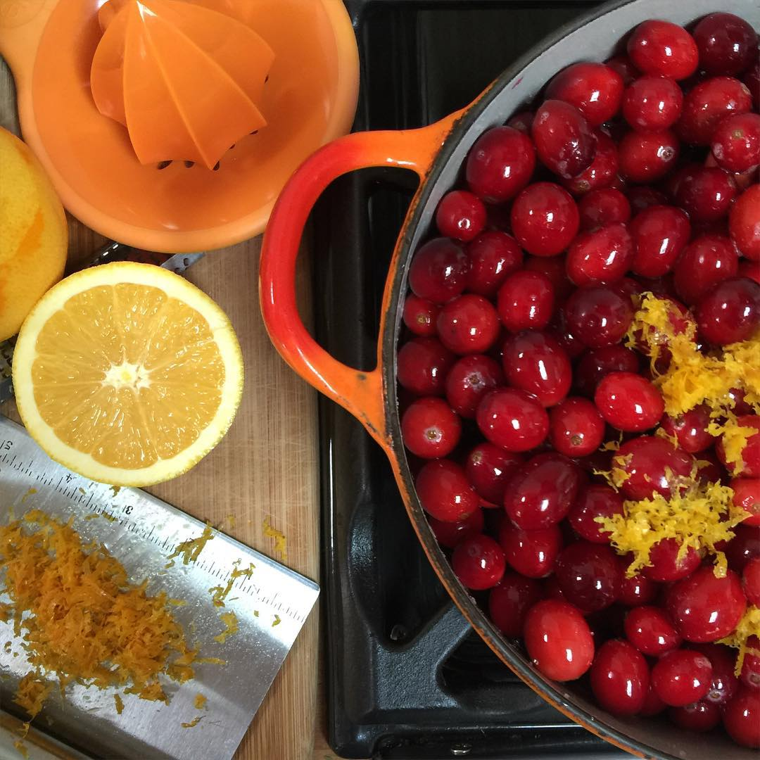 One of the new LeCreuset pots getting put to use for cranberry sauce this Thanksgiving.