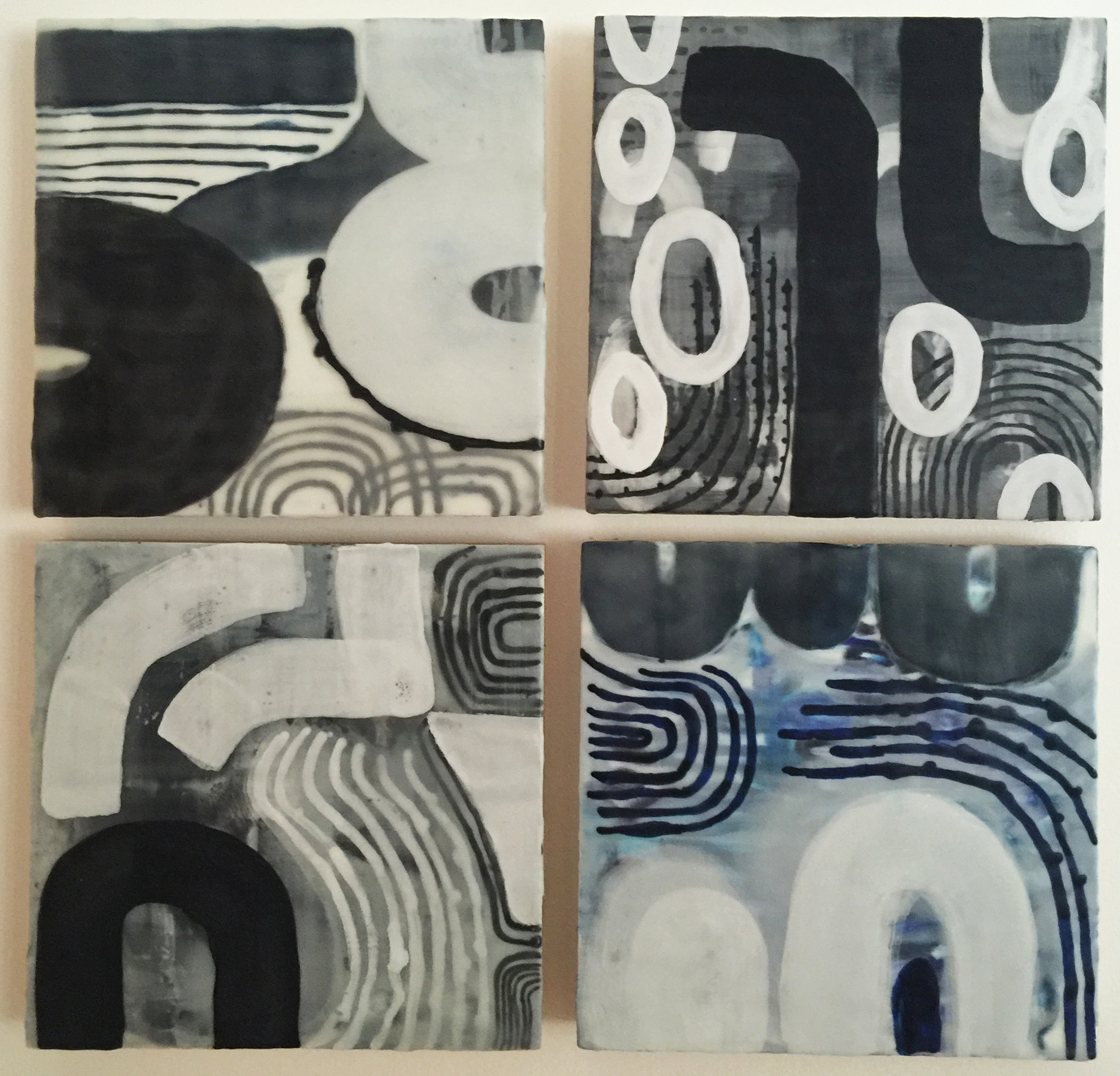 abstract encaustic grouping, by emily mann, ink and indigo.jpg