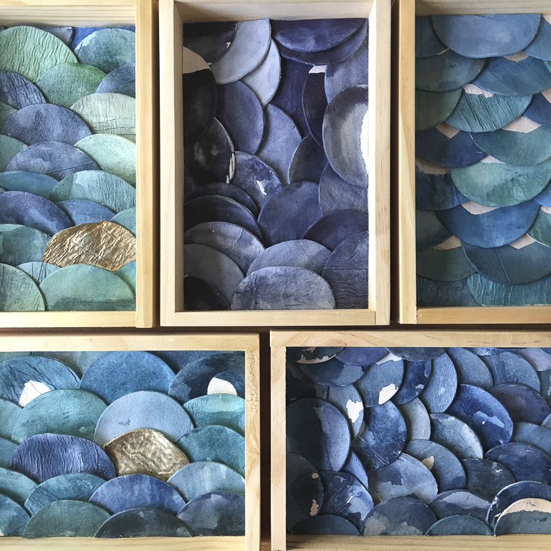 Emily Mann, Ink and Indigo, Sculptural Shelfies Series, mixed media sculpture in birch shadowbox, 9x6x1.5in01.JPG