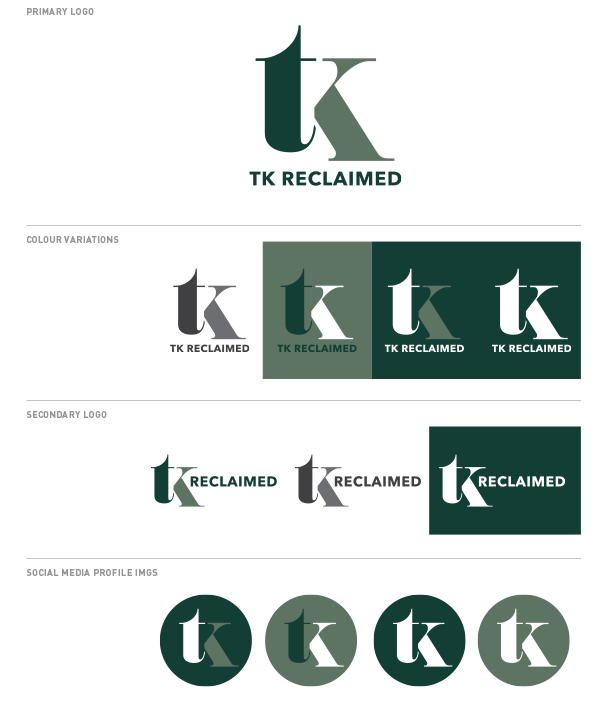 TK Reclaimed logo types
