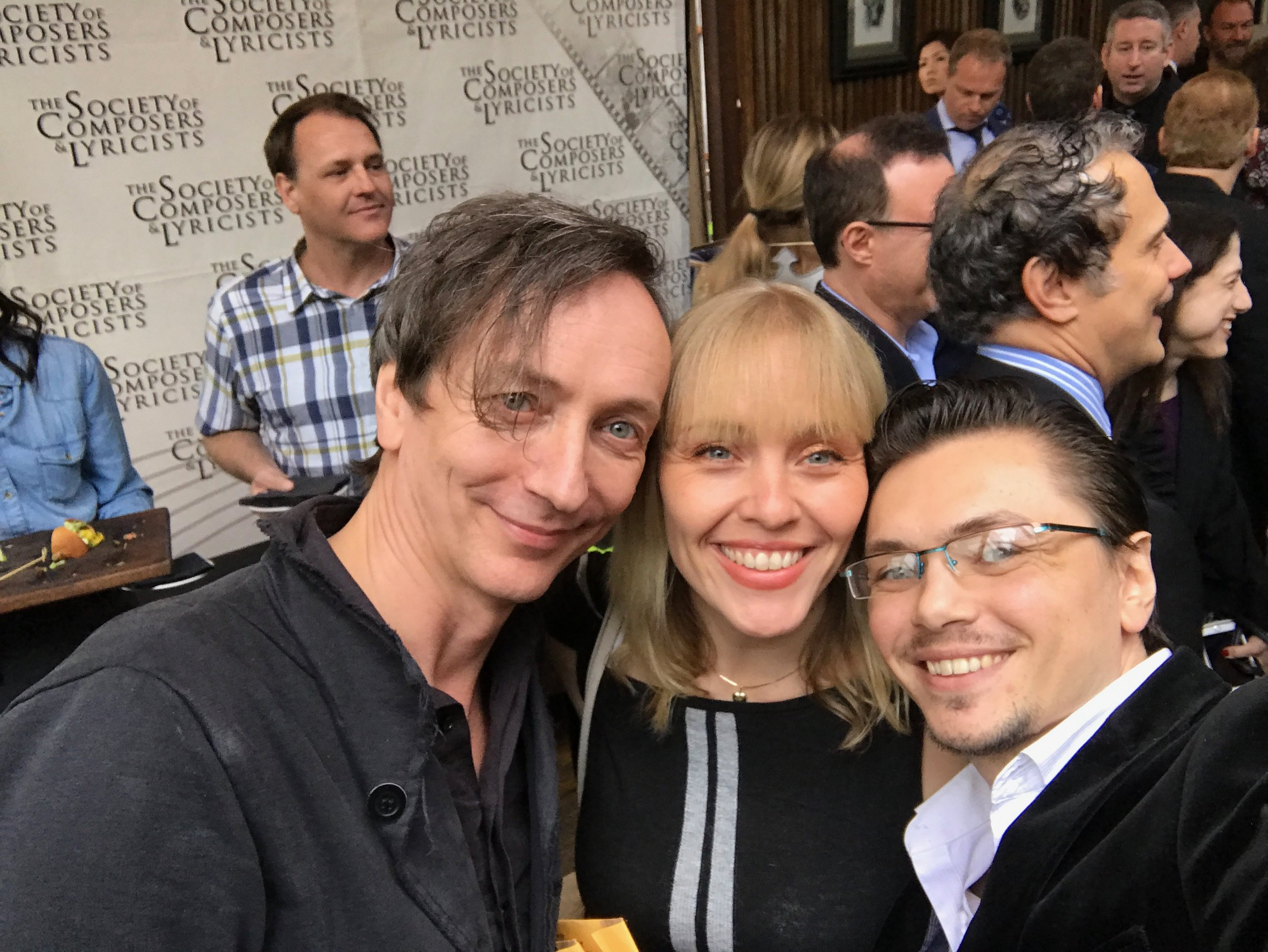 """Here with Oscar Nominee Hauschka and my dear friend and luminary singer Christine Hals (Frozen). I had the immense pleasure to work with Christine, who sung on my theme """"Call For The Equal Rights"""" on Patricia Arquette's Documentary Equal Means Equal."""