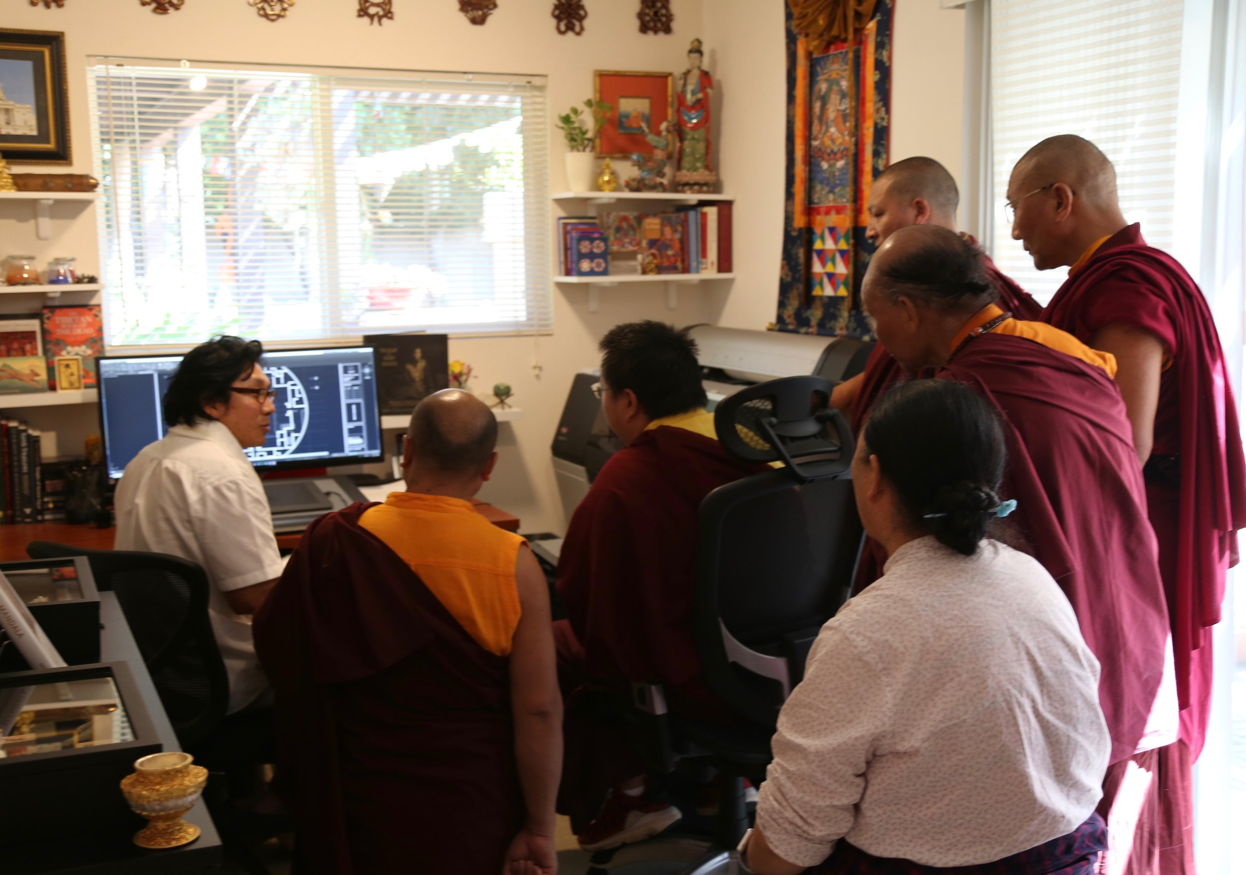 HH Dudjom Yangsi Rinpoche visiting Pema Namdol at Padma Studios®, with Mayamla, Venerable Khenpo's, and Lama Sonam Tsering