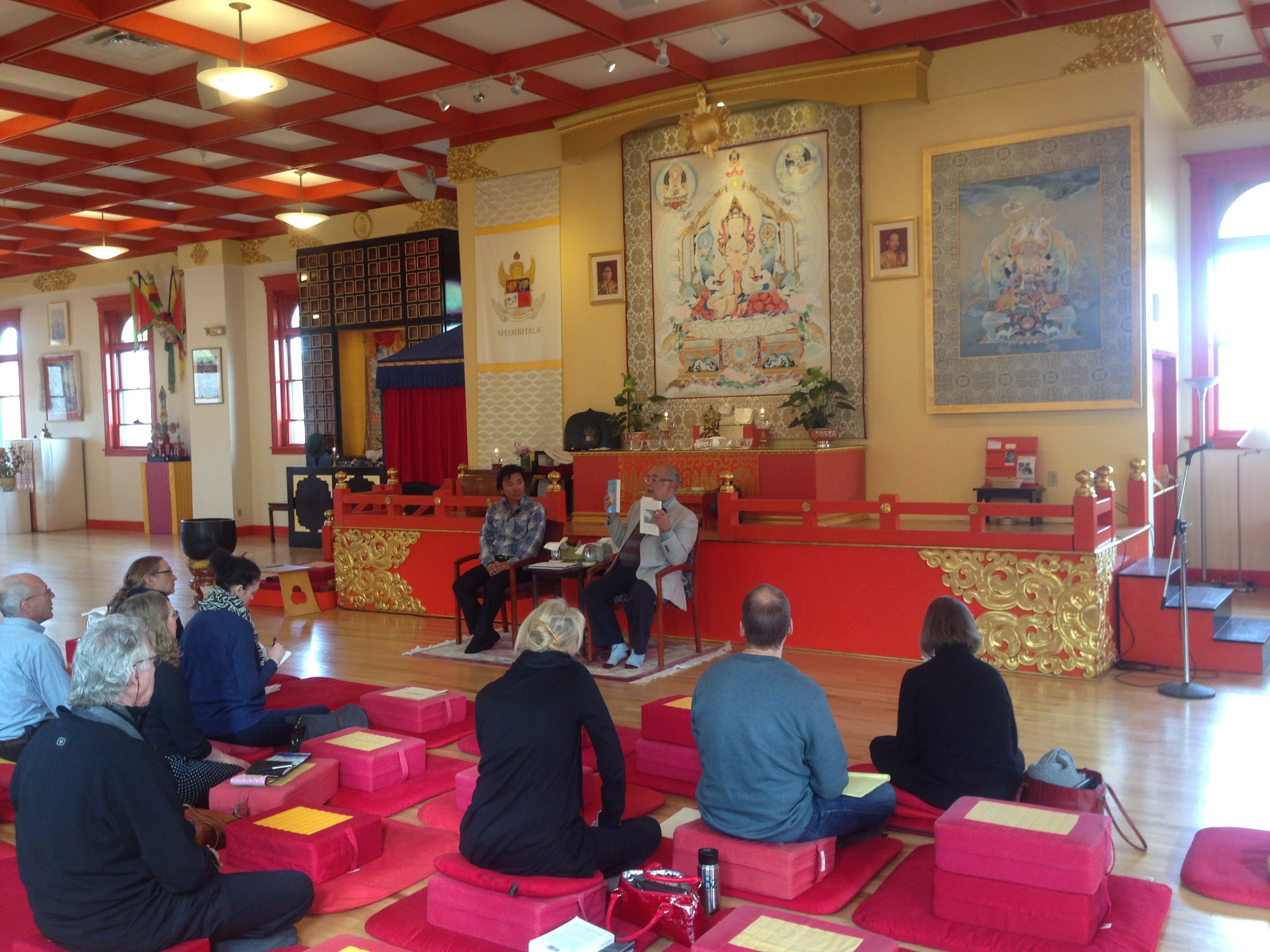 Pema Namdol and Samuel Bercholz teaching a bardo workshop, Boulder Shambhala Center (2017)