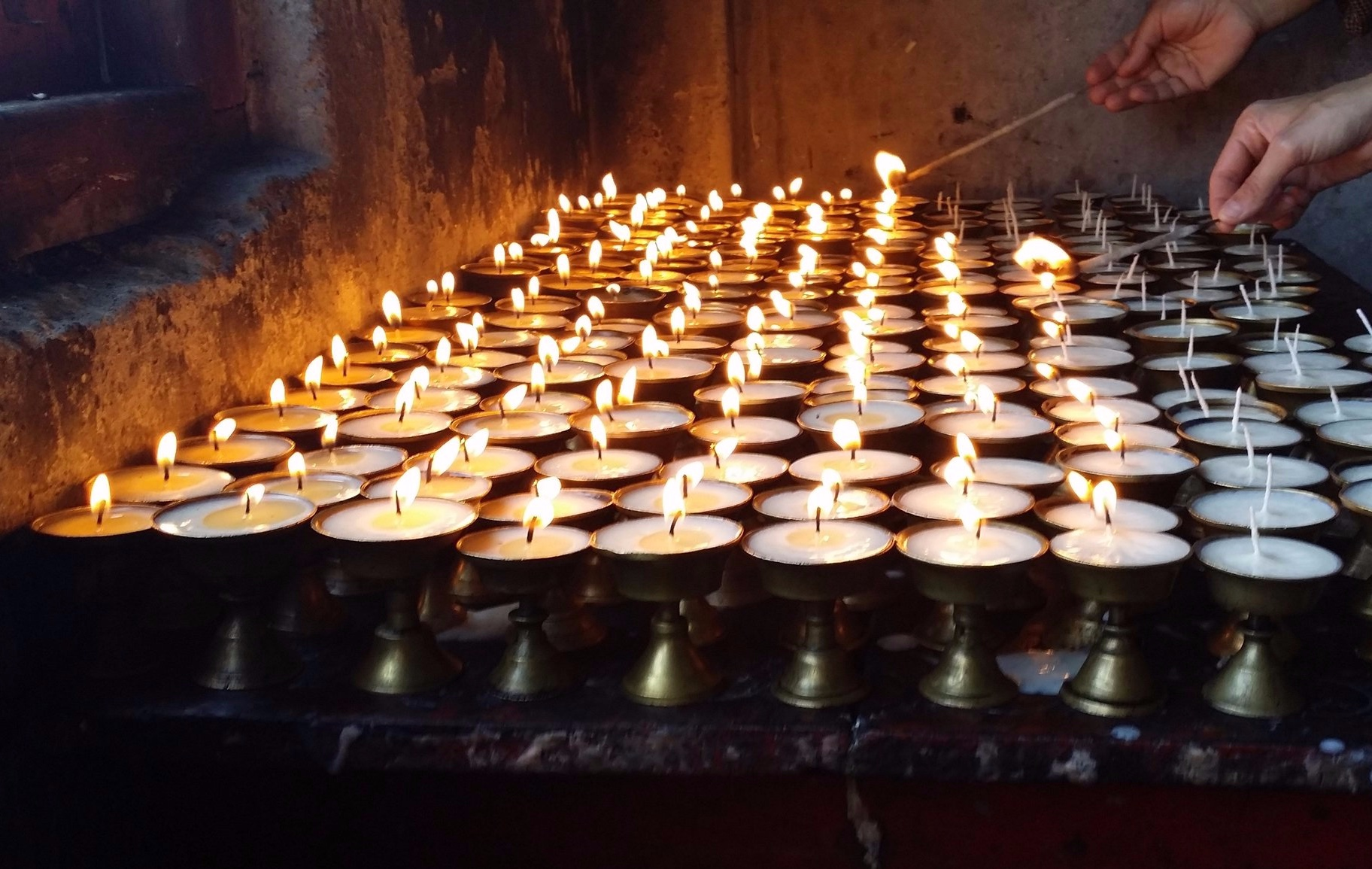 Traditional butter lamp offerings