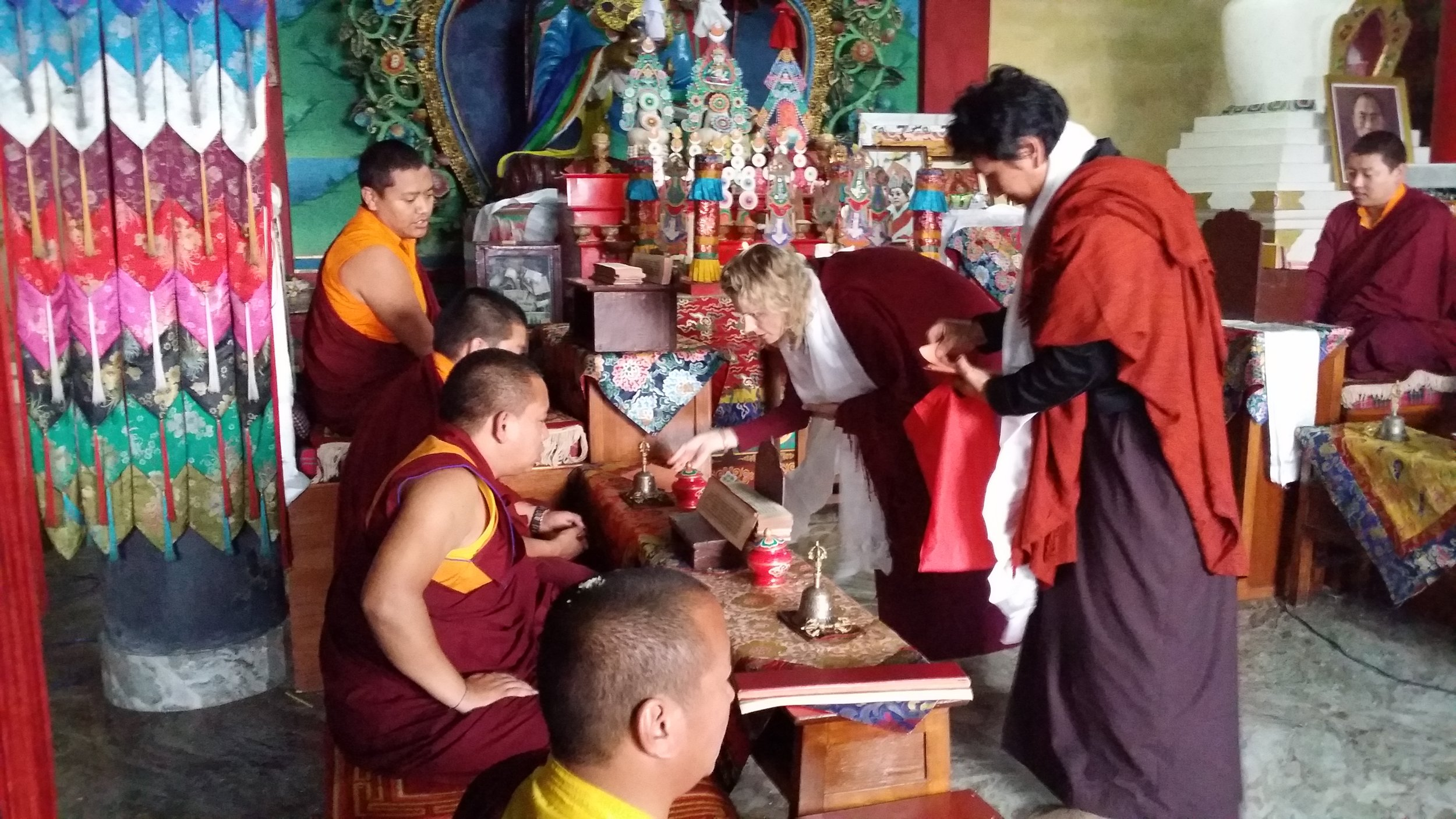 Making offerings to Zangdok Palri Monastery, Kalimpong, India