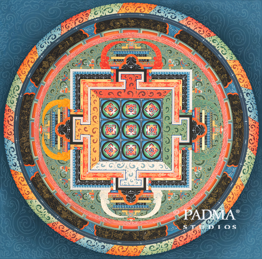 Two-dimensional Nyingma Mandala of the Eight Doctrines painting by Pema Namdol Thaye