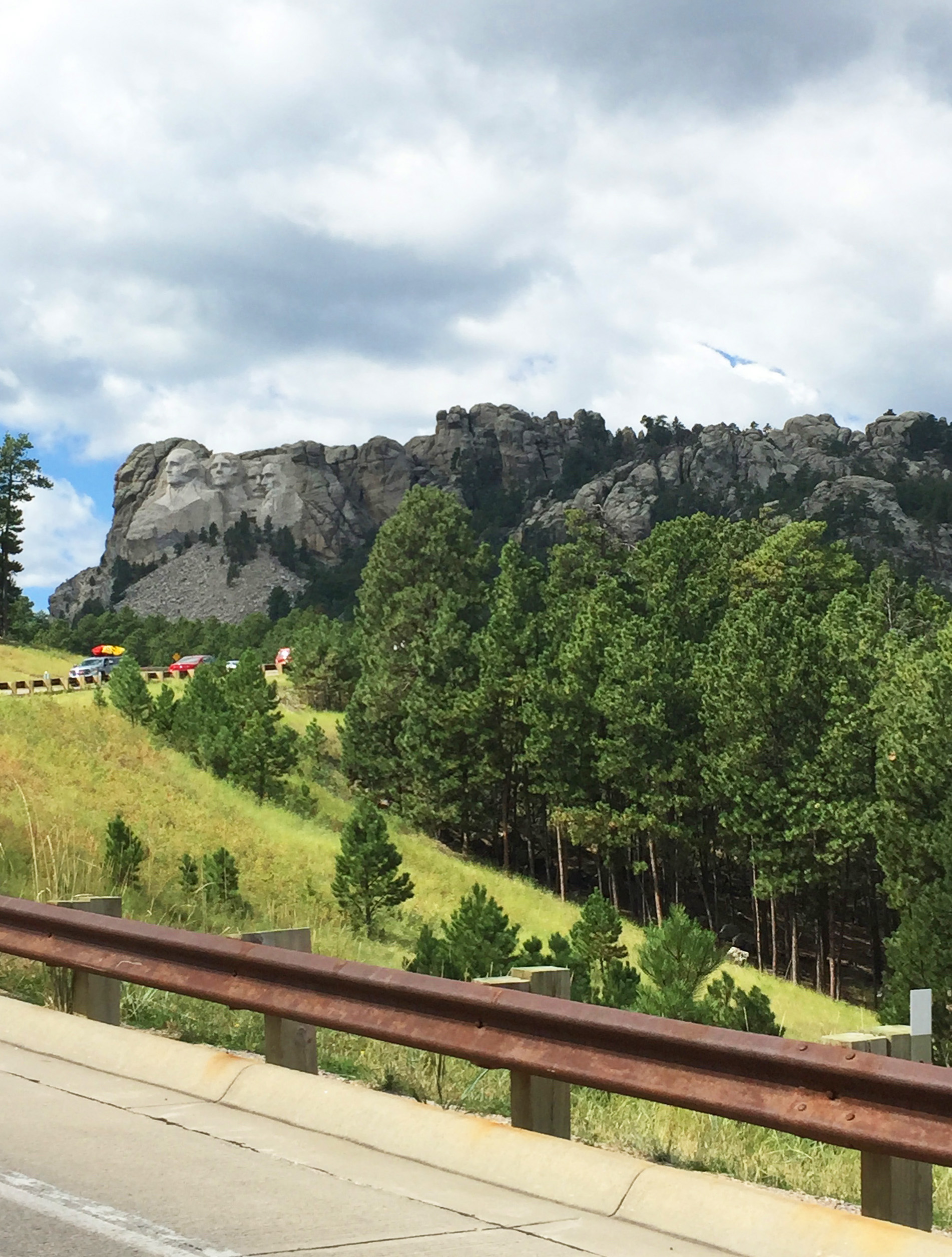 First glimpse of Mt Rushmore from the road.