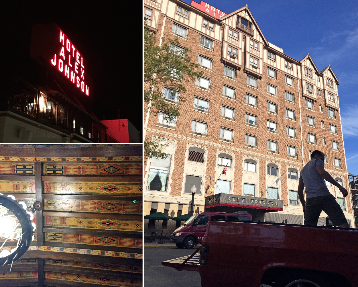 """The historic """"Hotel Alex Johnson"""" sign lit up at night, the patterned ceiling, and Alex packing up the truck before hitting the road for Wyoming."""