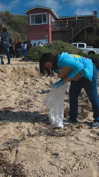 High school students help study plastics on the beach at Crystal Cove.