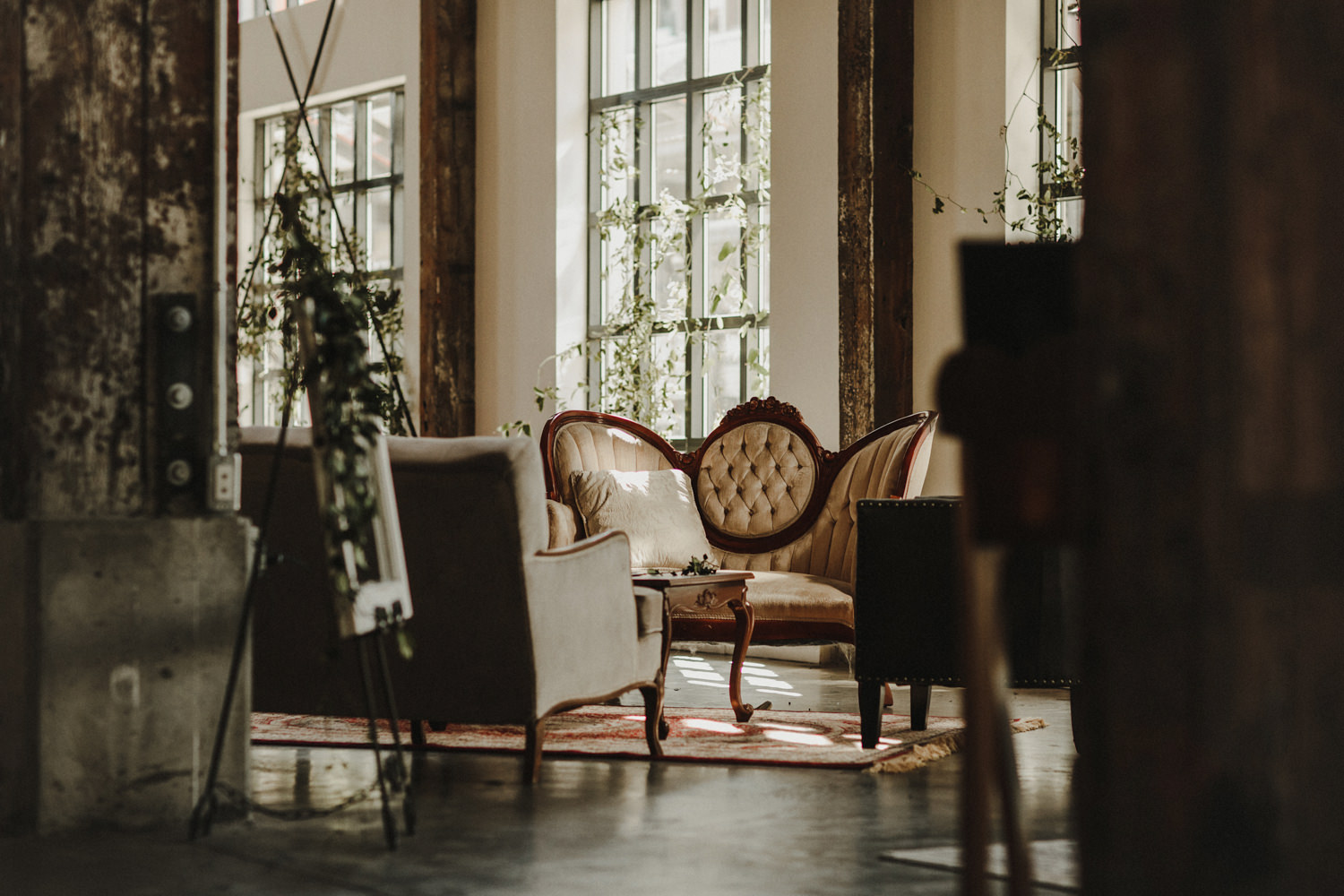 A photo of one of the lounges for a wedding at the Pipe Shop.