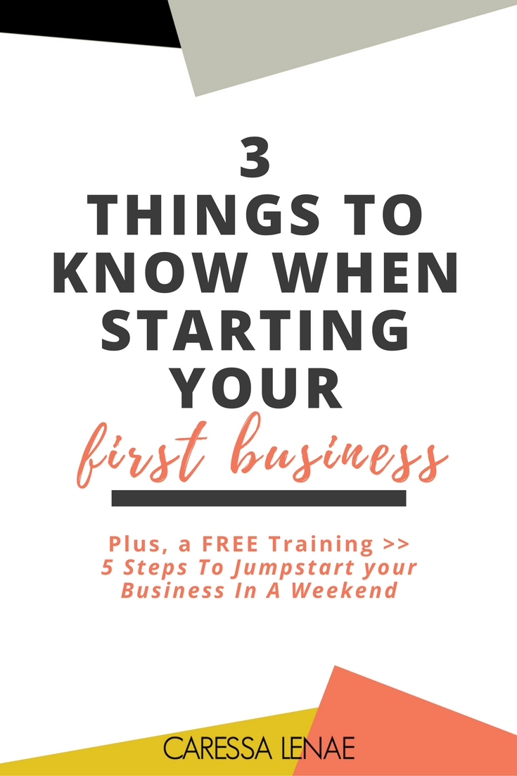 Starting a business shouldn't be overwhelming. In this post of a 3 part series, I breaking down 3 things you must know when starting your first business as a new entrepreneur. via @CaressaLenae