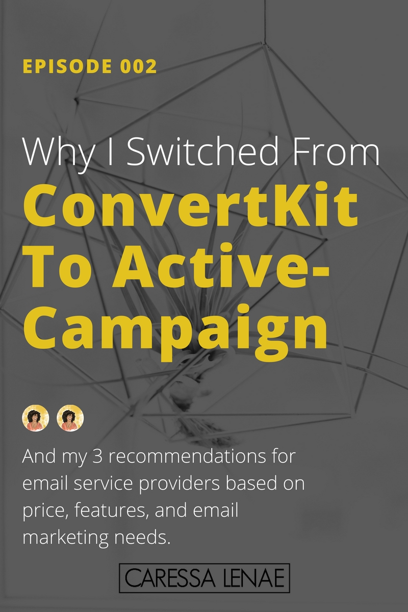 In episode 002 of The Business Casual Podcast, I share why I moved from ConvertKit to ActiveCampaign, and my 3 recommendations for email service providers based on price, features, and email marketing needs. via @CaressaLenae