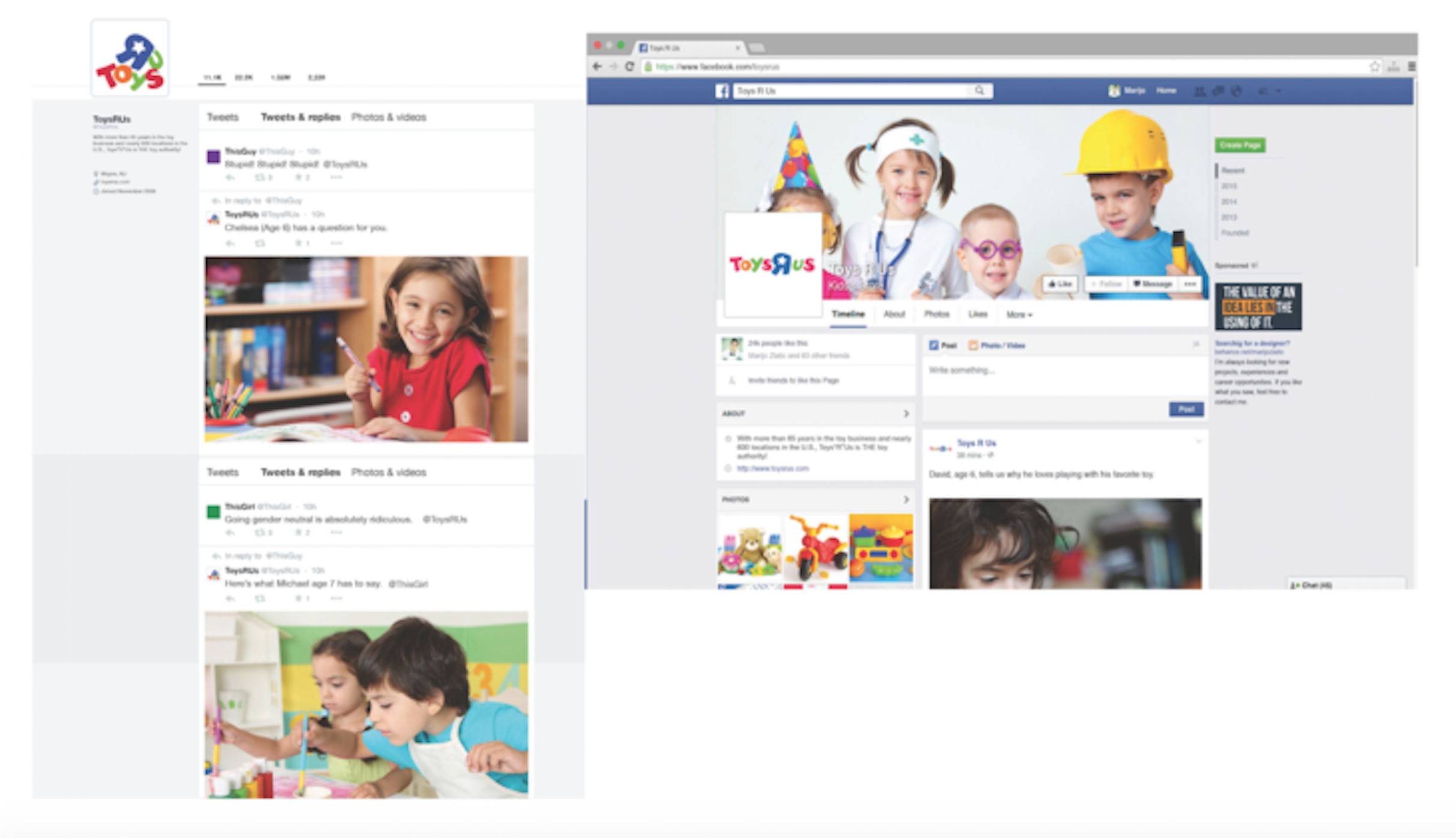 """SOCIAL MEDIA RESPONSE  Toy's R Us will anticipate criticism on Facebook and Twitter by responding with short videos of children repeating """"but why?"""" or continuously asking """"why?"""" There will also be clips of children explaining why they like to play with certain toys."""